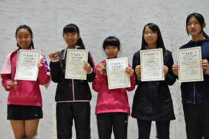 女子U15入賞者